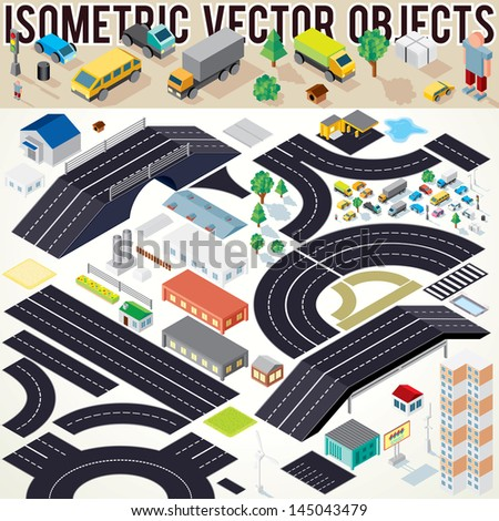 Isometric Vector Cars Buildings Roads Other Stock Vector Royalty - Create street map