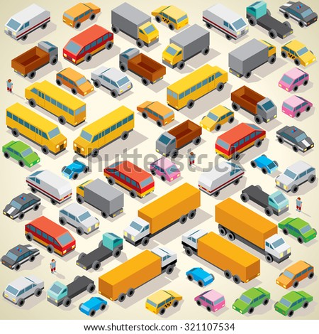 Isometric Vector Cars. Various Automobiles, Trucks, Buses, Vans on Parking - stock vector