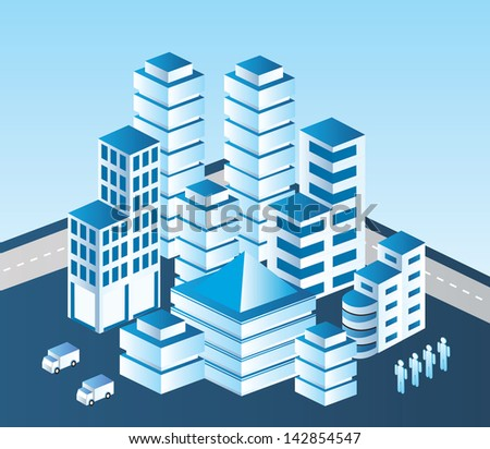 Isometric vector city in blue tones