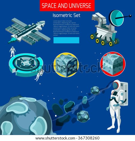 Isometric vector flat style space and universe exploration set  - stock vector