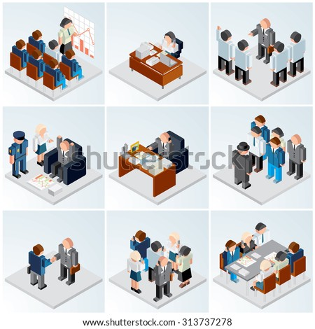 Isometric Vector Icons. Various Business Situations : Office Work, People Relationship, Business Partnerships , Company Teamwork, Stock Market Staff... - stock vector