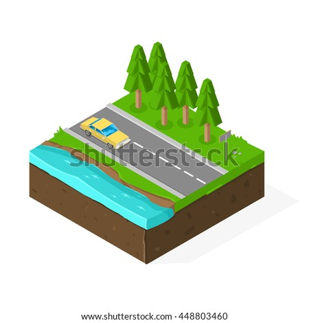Isometric vector illustration Countryside Road Drive. Driving through a rural landscape.