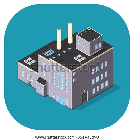 Isometric vector illustration industrial building.  Isometric factory warehouse building icon. large industrial manufacturing buildings.