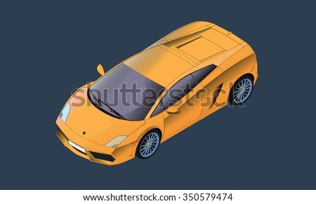 isometric vector illustration of a yellow sports car - stock vector