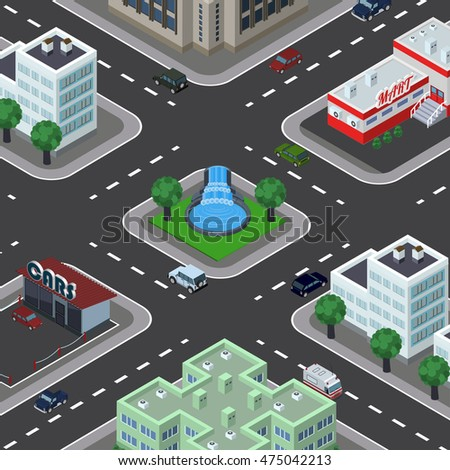 Isometric vector illustration of city in top perspective view, car service, cars, roads, trees, buildings, cityscape, park, supermarket, fountain.
