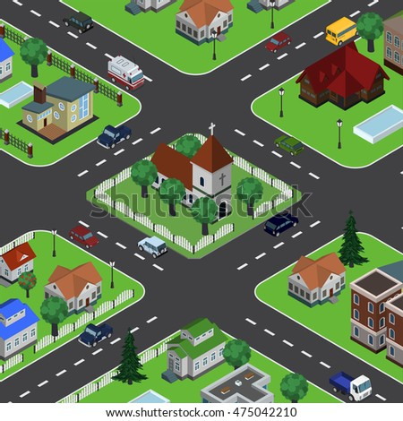 Isometric vector illustration of countryside in top perspective view, houses, church, roads, buildings, ambulance, cityscape