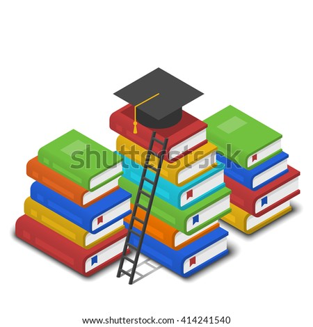 Isometric vector illustration of heap of books, ladder near it and square academic cap on top of it. Knowledge and reading concept