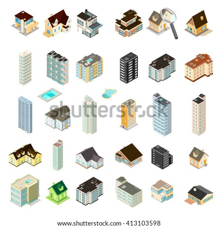 Isometric Vector illustration set of homes, hotels and apartments. Generic residential homes, hotels and renting accommodation properties. Houses, hotels and Apartments. - stock vector