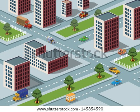 Isometric vector image of a modern city - stock vector