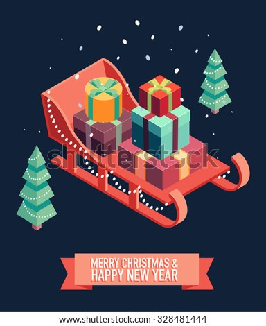 Isometric vector image of open sleigh with bunch of gifts. Merry Christmas and happy new year greeting card illustration. - stock vector