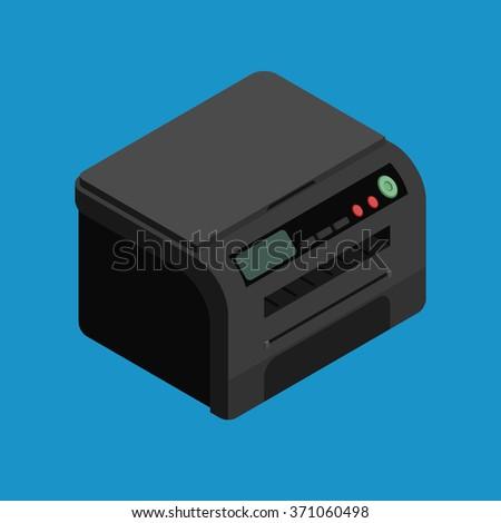 Isometric vector laser printer icon. Digital machine illustration . Modern black office printer.  - stock vector