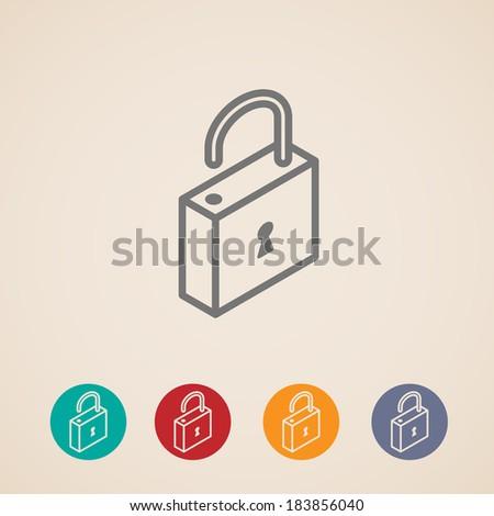 isometric vector lock icons - stock vector