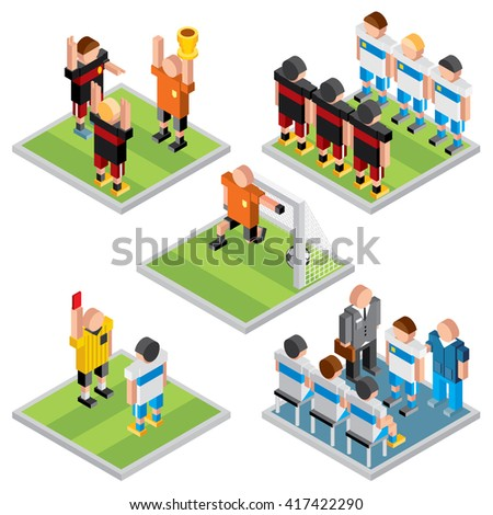 Isometric Vector Sport. Set of 3D Design Soccer Game Icons - stock vector