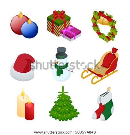 ... , snowman, Christmas toy, garland, candle, Santa hats, giftsocks