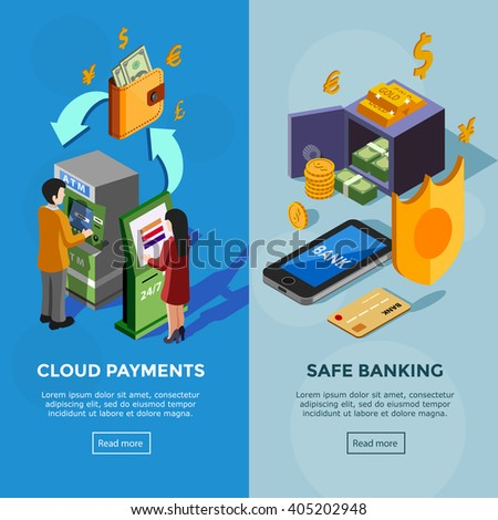 Isometric vertical bank banners with safe banking icons and cloud payments concept with people near terminal vector illustration  - stock vector