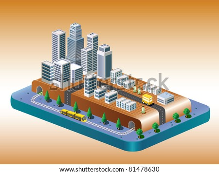 Isometric view of the city on the basis of color with a yellow train - stock vector