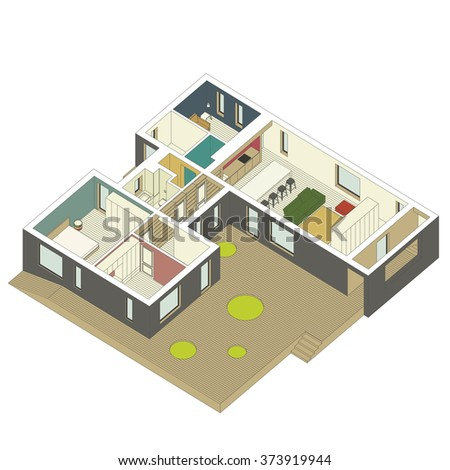 isometric view of the house inside. Vector illustration. - stock vector