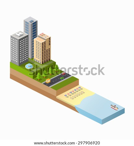 Isometric view of the sunny beach with umbrellas, deck chairs and blue sea with ships - stock vector