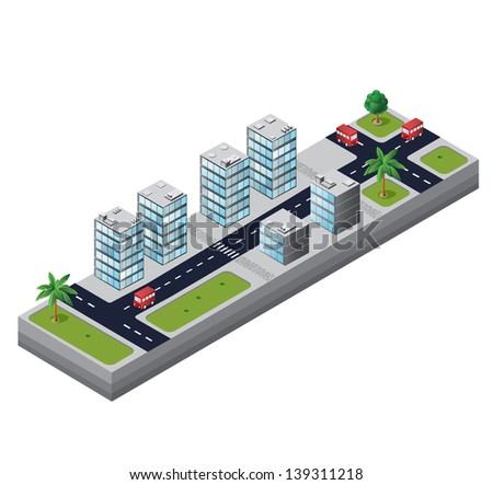 Isometric view of the urban area on the white background - stock vector