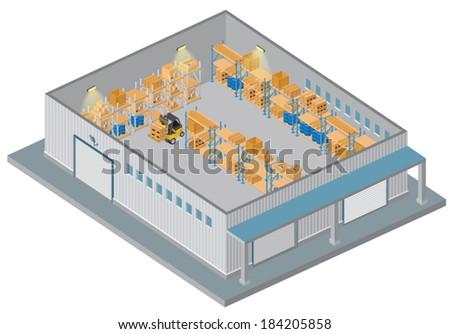 Isometric Warehouse - stock vector