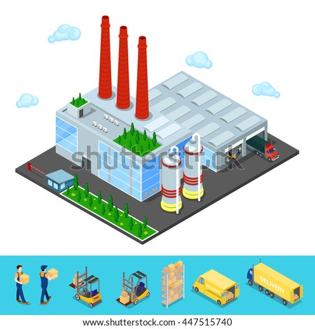 Isometric Warehouse Building with Industrial Shipping Area. Cargo Industry. Vector illustration - stock vector