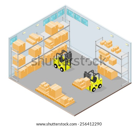 Isometric warehouse Interior with forklift and storage boxes. Isometric warehouse Interior. Distribution Warehouse. - stock vector