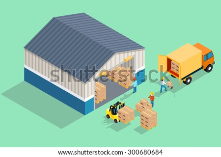 Isometric warehouse. Loading and unloading from warehouse. Storage and truck, transportation industry, delivery and logistic. Vector illustration - stock vector