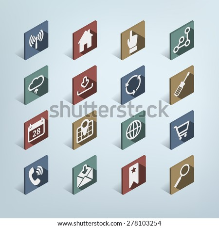 Isometric Web Icon Set, Modern Flat design style with shadows, 16 Icons: Wireless, home, hand, share, cloud, download, tools, calender, map, globe, shopping, phone, mail, bookmark, search - stock vector