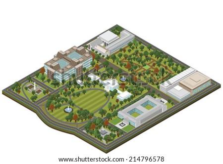 Isometric White House - Vector clip art illustration on white background - stock vector