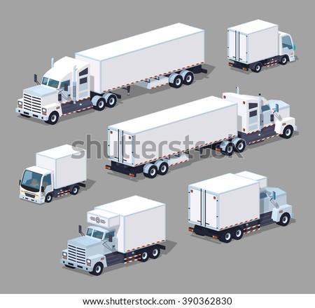 Isometric white trucks collection. Isometric white trucks set. Vector isometric white trucks. Isometric 3d white trucks. Isometric low poly white trucks. Isometric cartoon white trucks. - stock vector