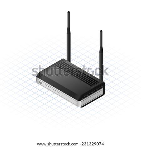 Isometric Wireless Bridge Vector Illustration - stock vector