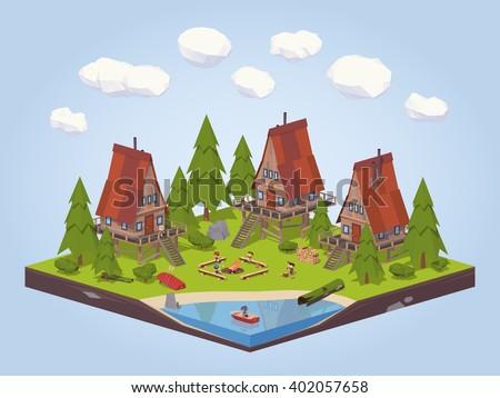 Isometric wooden cabins. Isometric wooden cabins illustration. Vector isometric wooden cabins. Isometric 3d wooden cabins. Isometric low poly wooden cabins. Isometric cartoon wooden cabins. - stock vector