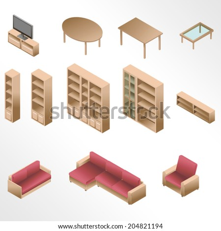 Isometric wooden furniture for living room / Gradient fill icons - stock vector