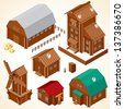 Isometric Wooden Houses. Rural House, Log Cabin, Wood Windmill, Rustic Outhouse, Farm Barn and Large Cottage. Vector Clip Art - stock photo