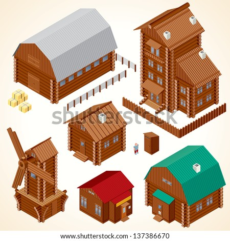Isometric Wooden Houses. Rural House, Log Cabin, Wood Windmill, Rustic Outhouse, Farm Barn and Large Cottage. Vector Clip Art - stock vector
