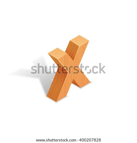 Isometric wooden letter X with shadow.