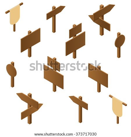 Isometric wooden pointers. Brown plywood. Rustic signs direction road. Wooden stand for posters and ads. The arrow direction. Game design. Vector illustration. - stock vector