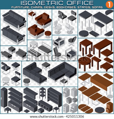 isometric office furniture vector collection. Isometric Workplace Planning Kit. Set Include Furniture, Cabinets, Chairs, Sofas, , Office Furniture Vector Collection E