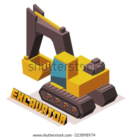 isometric yellow 3D excavator machine - stock vector