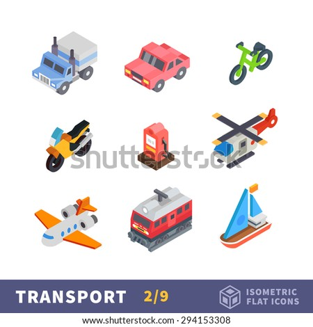 Isometry transport flat icon set. All modes of transport for travel and reach the destination. Vector cars, plane and ship - stock vector