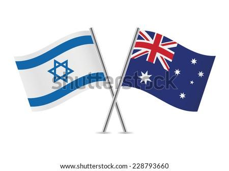 Israel and Australian flags. Vector illustration. - stock vector