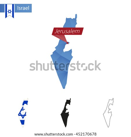 Israel blue Low Poly map with capital Jerusalem, versions with flag, black and outline. Vector Illustration. - stock vector