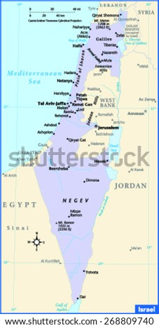 Israel Country Map - stock vector