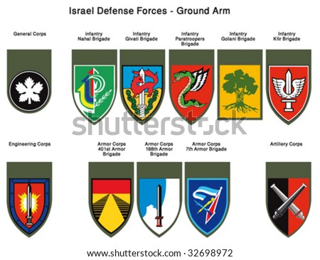 Israel Defense Forces - Insignia Units Tags - stock vector