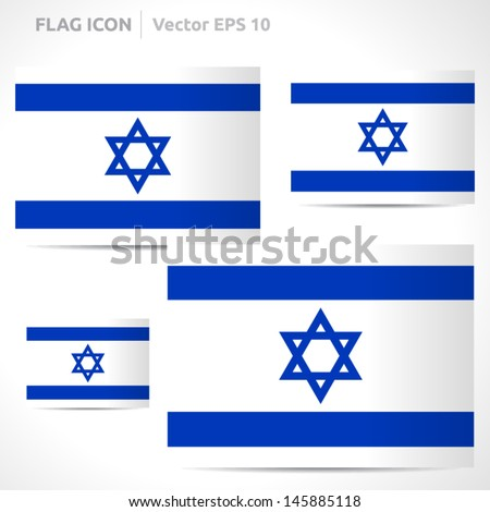 Israel flag template | vector symbol design | color white and blue | icon set - stock vector
