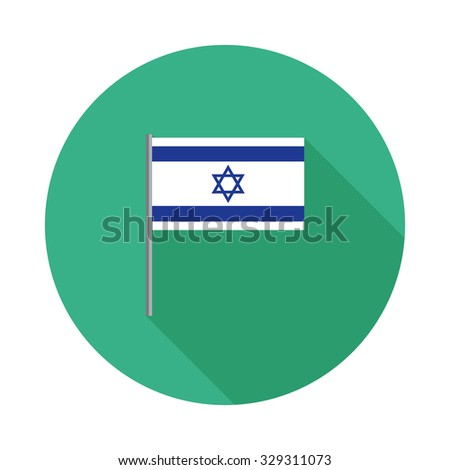 Israel flag with flagpole flat icon with long shadow. Vector illustration