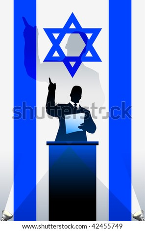 Israel flag with political speaker behind a podium  Original vector illustration. Ideal for national pride concepts. - stock vector
