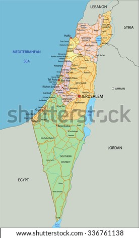Israel - Highly detailed, editable political map with labeling. - stock vector