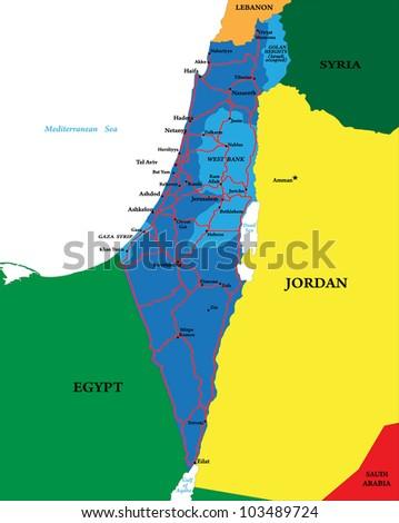 Israel map - stock vector