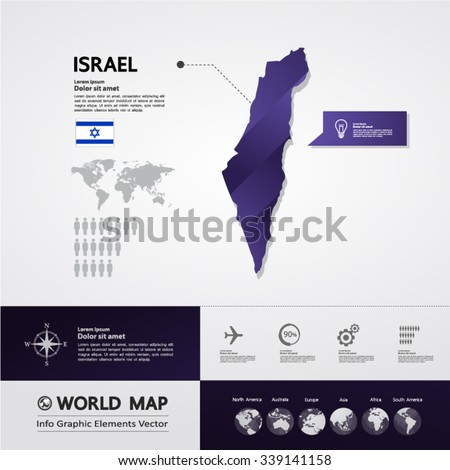 Israel Map - stock vector